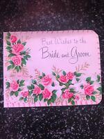 Vintage Wedding Card MCM Wallet Money Pink roses Doves American Greetings