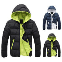 Men's Warm Winter Parka Quilted Padded Hooded Puffer Jacket Outwear Zipper Coat