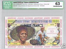 ANTILLES FRANCAISES  SPECIMEN 1000 FRANCS SURCHARGE 10 NF (1961) PICK 2s RARE