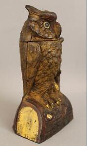 Antique c1880 J&E Stevens Original First Paint Cast Iron Mechanical Owl Bank NR