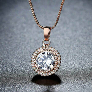 2Ct Round Cut Simulated Moissanite Halo Pendant 14K Rose Gold Over 18 Free Chain