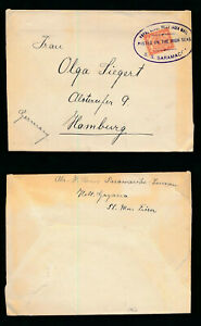 ROYAL DUTCH WEST INDIA MAIL CANCEL SHIP SARAMACOA 5c to GERMANY POSTED HIGH SEAS