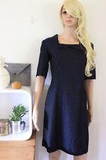 Embroidered dress damask navy blue black shift real handmade genuine vintage