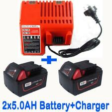Charger+2x Battery 18V 5.0Ah Red Lithium Ion XC 5.0 For Milwaukee M18 48-11-1828