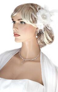♥Haarschmuck zur Hochzeit Birdcage Gesichtsschleier ivory Federspiel Kristalle