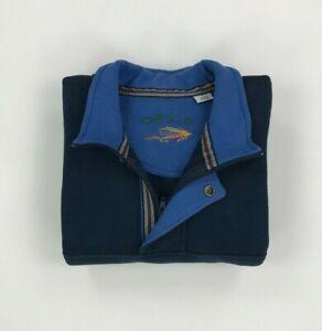 Men's Navy Blue Orvis 1/4 Zip Sweatshirt Large Pullover Jumper 1/2 Zip Sweater A