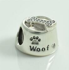 Authentic Genuine Pandora Silver Dog bowl Charm 791708CZ