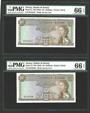 1963 Jersey 10 shillings running/consecutive  2 notes Both PMG66 EPQ <P-7a>