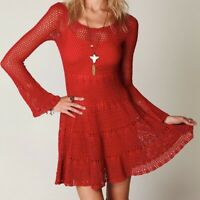 Free People Cherry Red Belle Sweater Dress Sz Small Crochet Fit N Flare Coverup