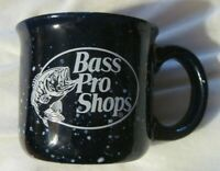 Bass Pro Shops Ceramic Campfire Style Coffee Mug  Speckled Dark Blue White EUC