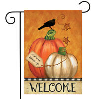 "Rustic Pumpkins Fall Garden Flag Primitive Welcome Crow 12.5""x18"" Briarwood Lane"