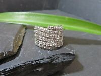 Großer 925 Silber Ring Ausgefallen Spirale Funkelnd Zirkonia Schwer Elegant
