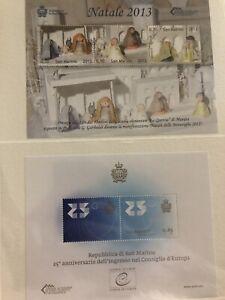San Marino 2013 2 Foglietti, 5 Francobolli, Natale E Consiglio D'Europa