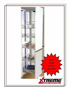 Pull Out Larder Tall Unit with 5 Baskets- for 300mm Cabinet- Soft Close