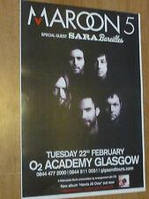Maroon 5 + Sara Bareilles - Glasgow feb.2011 tour concert gig poster