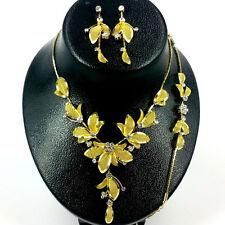 Flower Gold/Clear Rhinestone with Mesh Leaf Necklace,Bracelet & Earring set