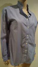 INES DE LA FRESSANGE UNIQLO Blue Stripe Cotton High Neckline Blouse Shirt Top M
