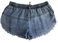 Dricoper W25/7 Fits 8-10 Denim Distressed Shorts Hot Pants Dark Blue