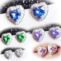 Christmas 1pair  Multi Sapphire Long Ear Stud 925 Silver Filled Tassel earrings