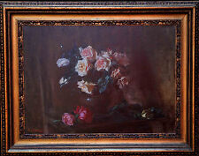 EUROPEAN 1924 ART DECO FLORAL STILL LIFE ROSES OIL PAINTING POST IMPRESSIONIST