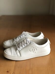 Authentic Chanel White Leather Rubber CC Logo Lace Up Sneakers Size EU 7 US 7