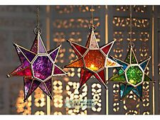 MOROCCAN STYLE COLOURED GLASS HANGING STAR LANTERN-CHOICE OF COLOUR - FAIR TRADE
