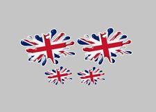 Union Jack Splat x 4 Flag Decal 100mm Car stickers 3D London UK GB