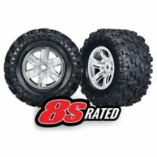 Traxxas 7772R X-Maxx 8S-Rated Tires Pre-Mounted on Satin Chrome Wheels
