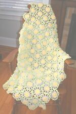 Handmade Bloom Daisy Loom Crochet Throw White/Yellow/Green Double Sided Afghan