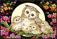 Owl Family and Flowers - Chart Counted Cross Stitch Pattern Needlework Xstitch