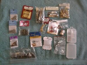 Lot of Jewelry Making Beads & Findings~Charm Bracelet Kits,Barrettes,Pin Backs
