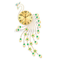 "38x17"" Luxury Peacock Wall Clock European Style Living Room Quartz Wall Clock US"