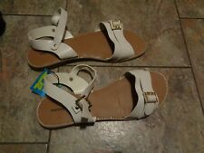 montego bay white strappy sandals shoes size 9 1/2
