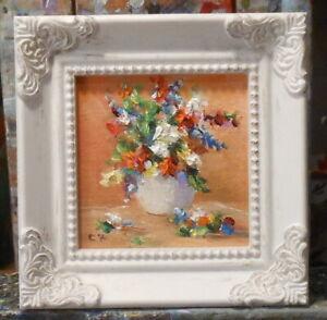 Flowers miniature 3x3 framed original oil painting - Celene Farris Maine. mini