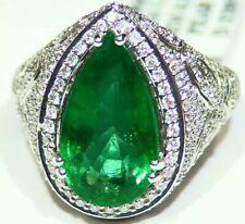 7.68CT 18K Gold Natural Round Cut Emerald White Diamond Vintage Engagement Ring
