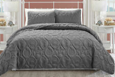 Coastal Grey Brown Saga Starfish Quilt Coverlet Bedspread 3 pcs Cal King Queen