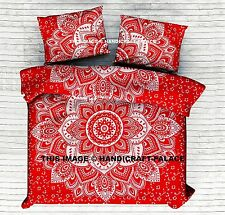 Indian Ombre Mandala Bedding Coverlet Cotton Red Silver Hippie King Duvet Cover