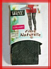 WELL NEUF Taille 3 - 4 Collants noir ébène motif scandinave 96 D Fibre naturelle