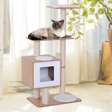Wood Cat Furniture Scratching Post Kitten House Condo Activity Center w/ Cushion