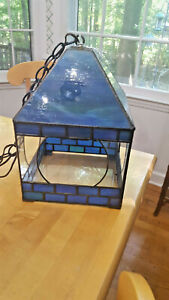 Unusual Mission Arts & Crafts  Metal & Stained Glass look Ceiling Fixture /plug