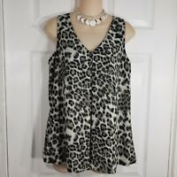 9ce005116d4834 DANIEL RAINN Size Small Gray Animal Print V Neck Sleeveless Shirt Top Blouse