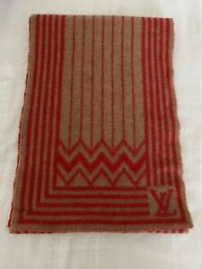 Louis Vuitton Vintage America's Cup Scarf Cashmere blend, Camel & Red Reversible