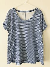 NEW T by Talbots 2X S/S Knit Top Tee Shirt Links Rayon/Cotton/Spx Blue