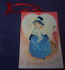 Handmade Vtg Victorian Card Style Glitter Valentines Onrament Girl in Blue Dress