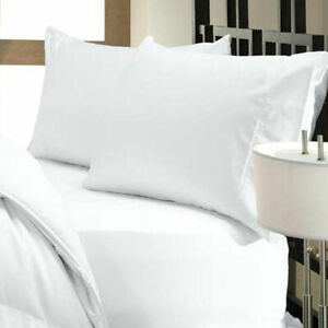 Bed Sheet Set White Solid All Sizes & Drop Length 1000 TC Organic Cotton