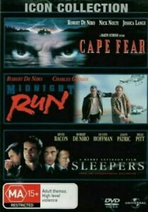 Cape Fear+Midnight Run+Sleepers DVD 3 DISC SET REGION 4 NEW AND SEALED
