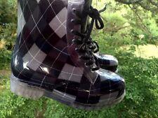 YOKI Rain Galoshes Wedge High Heel Tartan Argyle Plaid Boots Womens Shoes Sz 6.5