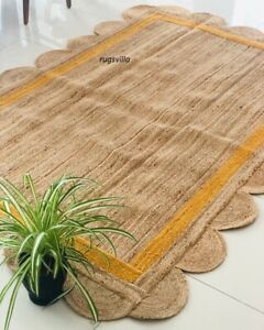 Vintage Indian Jute 100% Natural Rug Braided style Handmade home décor Jute Rugs