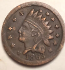 1863 Indian Head Patriotic , Union Cannons , Drum , Flags , Red , And Luster