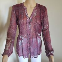 Lucky Brand  Paisley Boho Peasant Top Blouse Size XS   FAST FREE SHIPPING!!